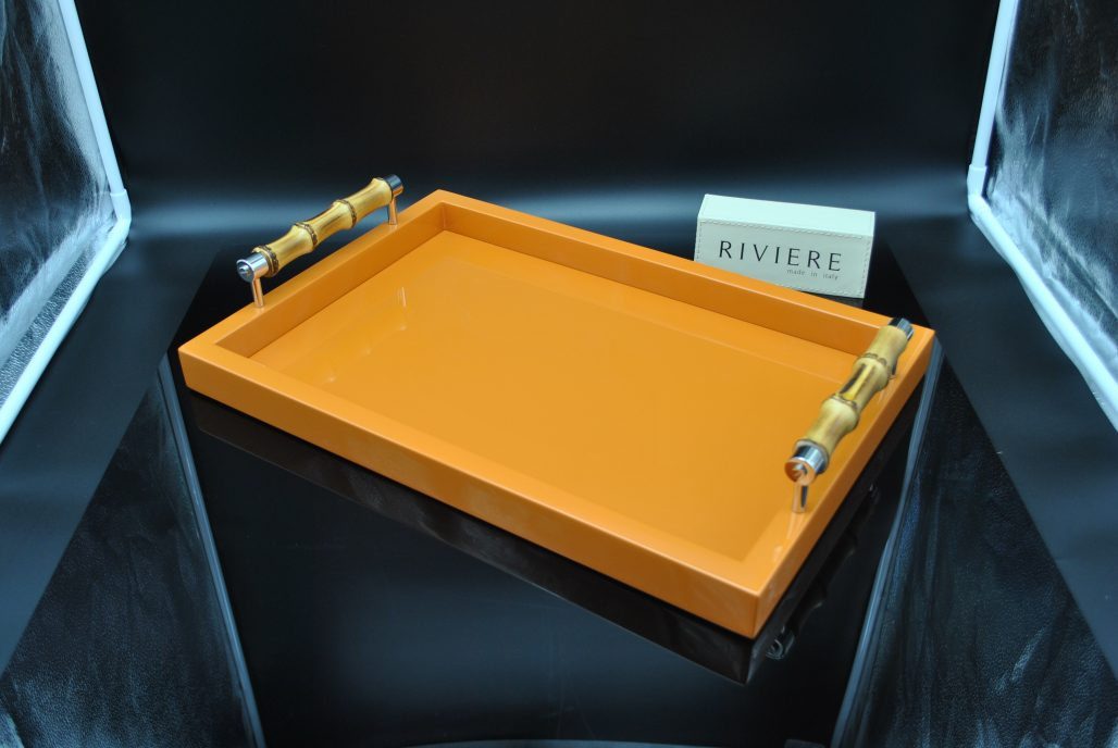 Riviere Tray - Orange Lacquered with Bamboo Handles
