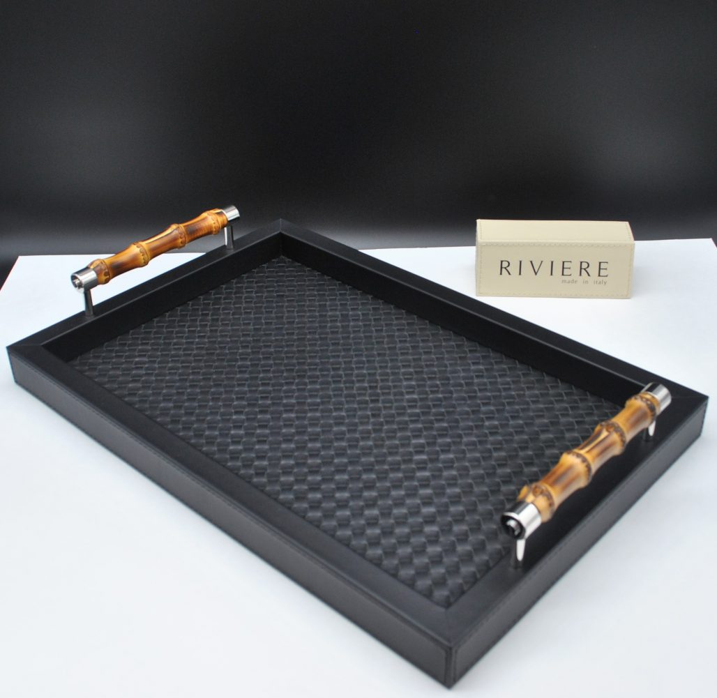 Riviere Luxury Tray - Black Leather with Bamboo Handles