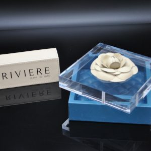 Riviere Luxury Box - Blue Leather with Camelia