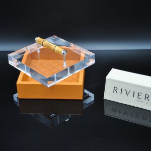Riviere Luxury Box - Orange Leather with Bamboo Handle