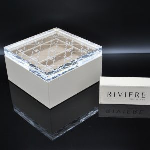 Riviere Jewelry Box - Ivory Leather with Acrylic Cover