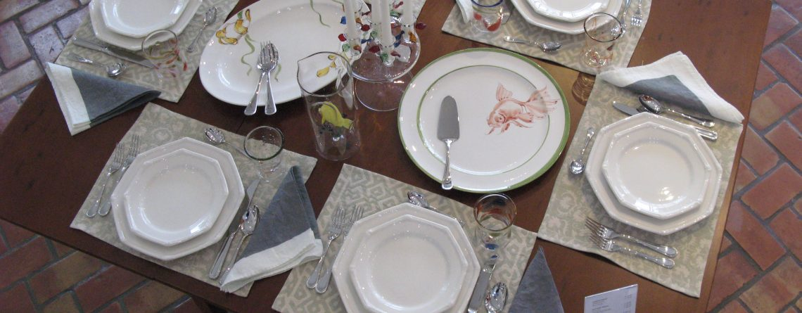 All Italian handmade dining setting