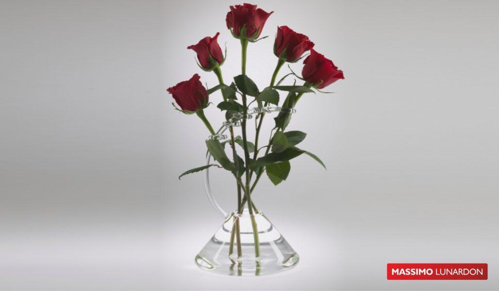 Massimo Lunardon Glass Vase , Rose